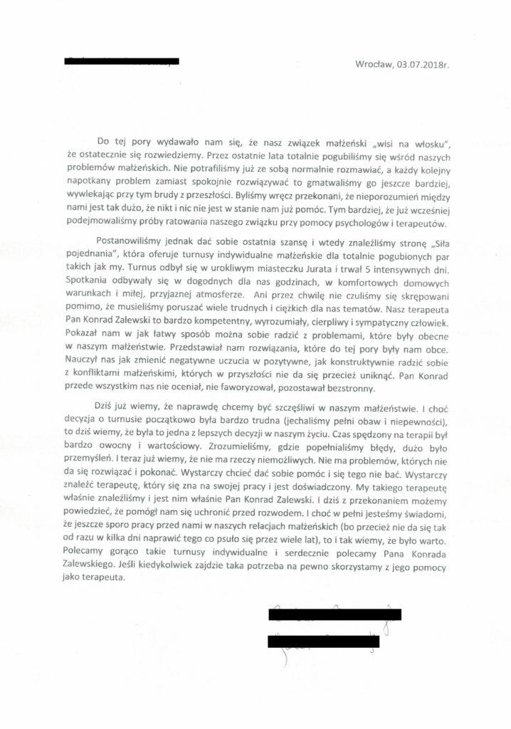 opinia referencje 2 Konrad Zalewski terapia par i małżeństw