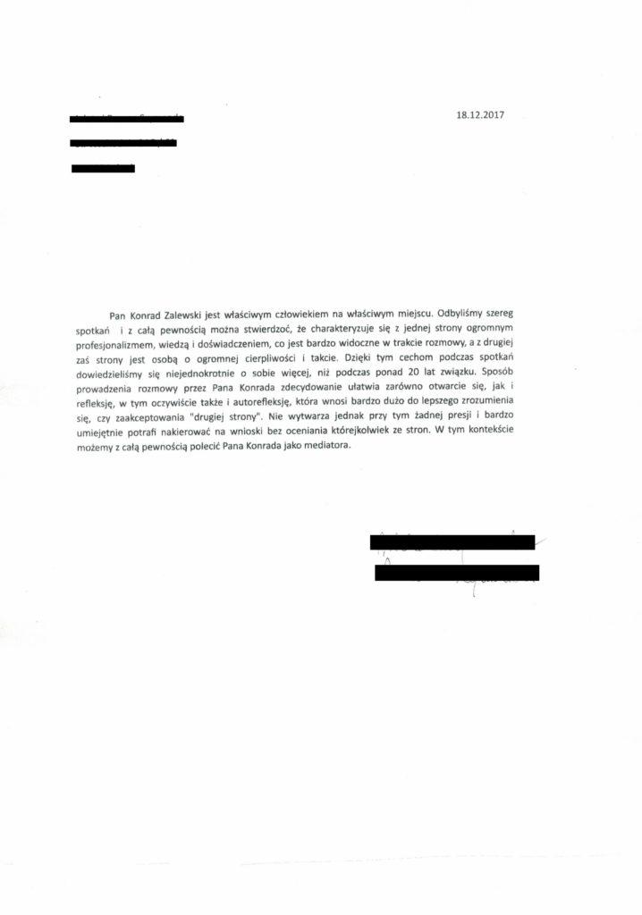 opinia referencje Konrad Zalewski terapia par i małżeństw